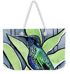 Blue Green Hummingbird Weekender Tote Bag
