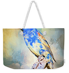 Blue Grosbeak Weekender Tote Bag by Barbara Manis