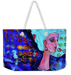 Weekender Tote Bag featuring the painting Blue Haired Girl On Windy Day by Claire Bull