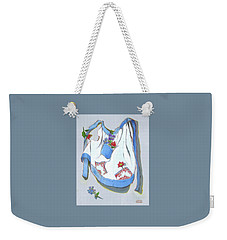 Weekender Tote Bag featuring the painting Blue Handkerchief Apron by Susan Thomas