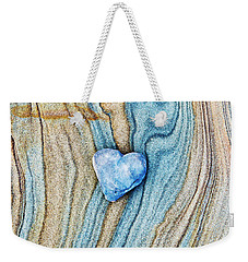 Weekender Tote Bag featuring the photograph Blue Heart Stone by Tim Gainey