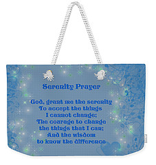 Blue Hearts Serenity Prayer Weekender Tote Bag