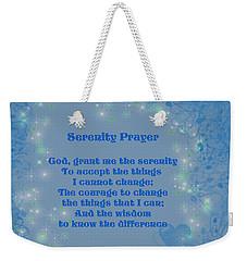 Blue Hearts Serenity Prayer Weekender Tote Bag