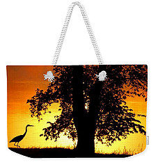 Weekender Tote Bag featuring the photograph Blue Heron At Sunrise by Sumoflam Photography