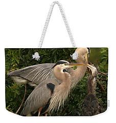 Blue Heron Family Weekender Tote Bag by Shari Jardina