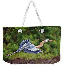 Blue Heron Flight Weekender Tote Bag by Shari Jardina