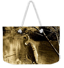 Weekender Tote Bag featuring the photograph Great Blue Heron by Janice Spivey
