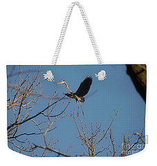 Weekender Tote Bag featuring the photograph Blue Heron Landing by David Bearden