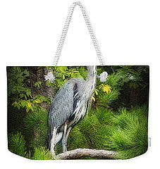 Weekender Tote Bag featuring the photograph Blue Heron by Lydia Holly