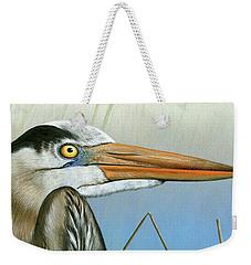 Blue Heron  Weekender Tote Bag by Mike Brown