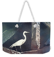 Weekender Tote Bag featuring the painting Blue Heron- Outer Banks by Ryan Fox