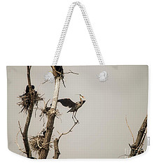 Weekender Tote Bag featuring the photograph Blue Heron Posing by David Bearden