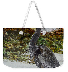 Weekender Tote Bag featuring the painting Blue Heron by Sher Nasser