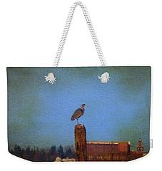 Blue Heron Sky Painted Weekender Tote Bag