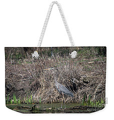 Weekender Tote Bag featuring the photograph Blue Heron Stalking Dinner by David Bearden