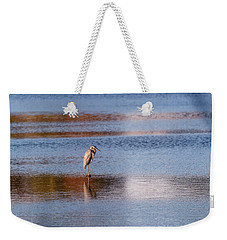 Blue Heron Standing In A Pond At Sunset Weekender Tote Bag