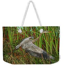 Blue Heron Take-off Weekender Tote Bag by Tom Claud