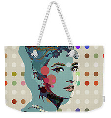 Blue Holly - Audrey Hepburn Spot Painting Weekender Tote Bag by Big Fat Arts