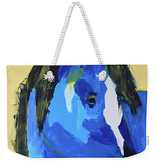 Weekender Tote Bag featuring the painting Blue Horse 2 by Donald J Ryker III