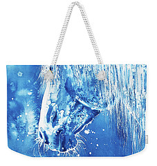 Weekender Tote Bag featuring the painting Blue Horse by Zaira Dzhaubaeva