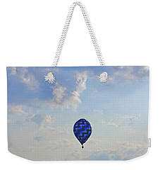 Weekender Tote Bag featuring the photograph Blue Hot Air Balloon by Angela Murdock