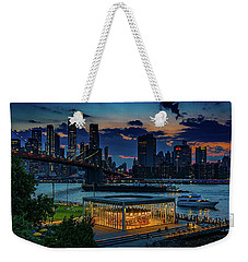 Weekender Tote Bag featuring the photograph Blue Hour At Brooklyn Bridge Park by Chris Lord