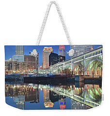 Weekender Tote Bag featuring the photograph Blue Hour Square by Frozen in Time Fine Art Photography
