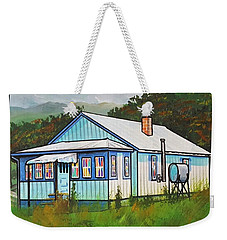 Blue House With Quilted Windows Weekender Tote Bag by Jim Harris