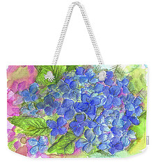 Weekender Tote Bag featuring the painting Blue Hydrangea by Cathie Richardson