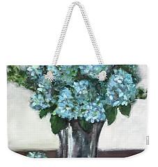 Blue Hydrangea's In Silver Vase Weekender Tote Bag