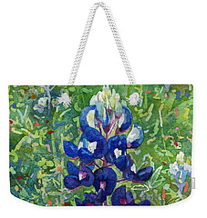 Weekender Tote Bag featuring the painting Blue In Bloom 2 by Hailey E Herrera