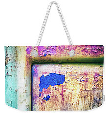 Weekender Tote Bag featuring the photograph Blue In Iron Door by Silvia Ganora