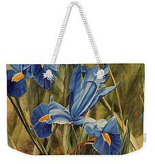 Weekender Tote Bag featuring the painting Blue Iris by Laurie Rohner