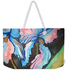 Weekender Tote Bag featuring the painting Blue Iris by Lil Taylor