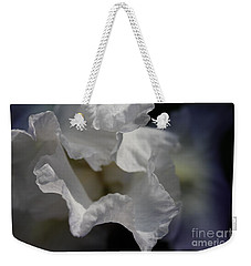 Weekender Tote Bag featuring the photograph Blue Iris by Mary-Lee Sanders