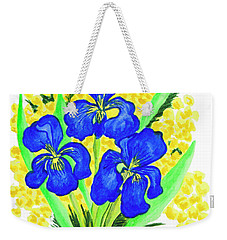 Blue Irises And Mimosa Weekender Tote Bag