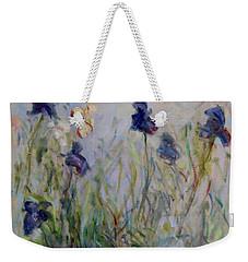 Blue Irises In The Field, Painted In The Open Air  Weekender Tote Bag by Pierre Van Dijk