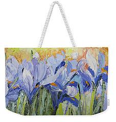 Blue Irises Palette Knife Painting Weekender Tote Bag