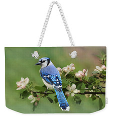 Blue Jay And Blossoms Weekender Tote Bag by Lori Deiter