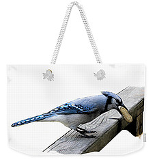 Blue Jay Eating Peanut Weekender Tote Bag