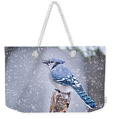 Blue Jay In Snow Storm Weekender Tote Bag