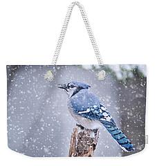 Blue Jay In Snow Storm Weekender Tote Bag