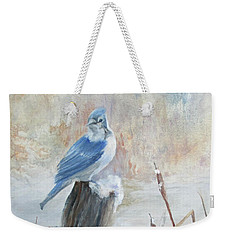 Blue Jay In Winter Weekender Tote Bag by Roseann Gilmore