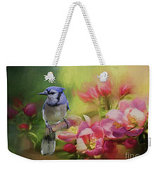 Blue Jay On A Blooming Tree Weekender Tote Bag by Eva Lechner