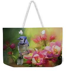 Blue Jay On A Blooming Tree Weekender Tote Bag