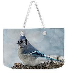 Blue Jay Perch Weekender Tote Bag