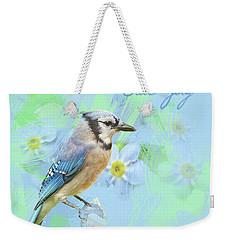 Blue Jay Watercolor Photo Weekender Tote Bag by Heidi Hermes
