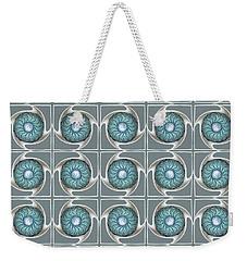 Weekender Tote Bag featuring the digital art Blue Kaleidoscope Swirl by Ellen Barron O'Reilly