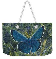 Blue Karner Butterfly Watercolor Batik Weekender Tote Bag