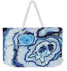 Weekender Tote Bag featuring the painting Blue Lace Agate I by Ellen Levinson